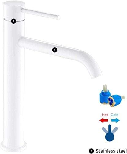 Grifos de baño blancos Lavar la cara de la mano Mezclador de una sola palanca Lavar Grifos altos de agua fría y caliente