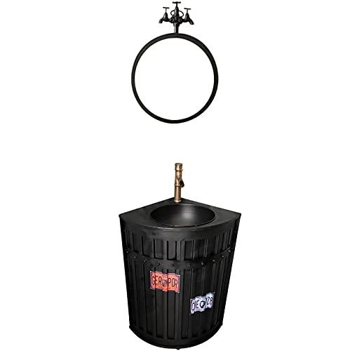 Industriell underdel med tvättställ, badrum Tvättställsgolv Golvstående handfat Badrumsskåp med kran och avlopp Badrumshandfat Skåp 21,6 x 18,8 x 33,8 tum,Black,With mirror
