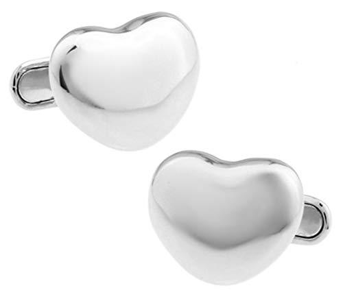 Romantisches Liebes-Herzgeschenk für ihn Silberne Hochzeits-Manschettenknöpfe von CUFFLINKS.DIRECT (Manschettenknöpfe mit Geschenkbox)