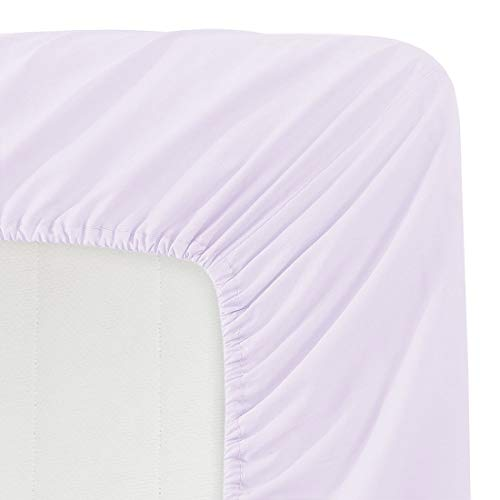 Basic Choice Solid Color Microfiber Deep Pocket Fitted Sheet, Full Size, Lavender