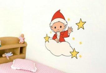 K&L Wall Art Wolkensticker Wand Sterne Selbstklebende Babyzimmer Deko Wolken Wandtattoo Sandmann 40x34 cm