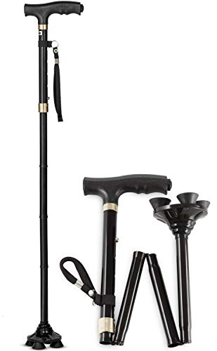 Sturdy and Lightweight Folding Walking Cane for Men and Women - Height Adjustable Walking Stick for Seniors - Quad Pivot Base for Stability - Walking Canes with Ergonomic Handle and LED Light (Short)