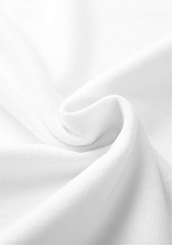 OMZIN Vestidos Camisa de Mujer Mini Vestido Faldas Mini Vestido de cóctel con Mangas Cortas y Estampado de Mujer,Blanco,XXS