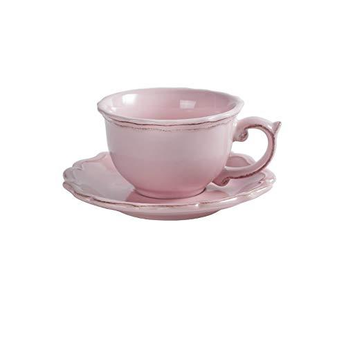 MSNLY Handbemalte Keramik Kaffeetasse und Untertasse Set Europäische Retro Spitze Kaffee Set Set Tasse Nachmittagstee Set