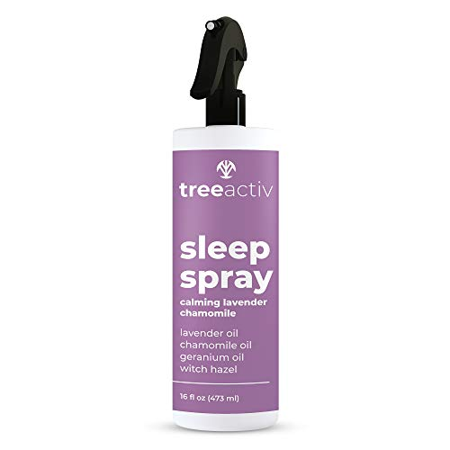 TreeActiv Sleep Spray, Calming Lavender Chamomile   Soothing Essential Oil Freshener for Pillow, Blanket, Bedding, & Sheets   Witch Hazel Aromatherapy Mist for Relaxation & Meditation   4000+ Sprays