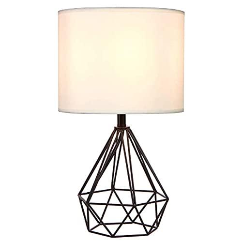 Moderno minimalista pintura de metal rosa oro hueco diamante diseño tela lámpara de mesa personalidad diamante DIRIGIÓ Dormitorio de iluminación decoración (Lampshade Color : Black)