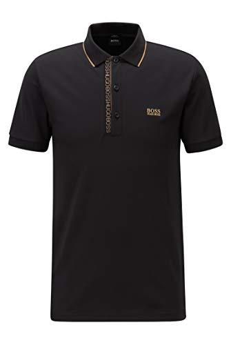 BOSS Herren Paule 4 Slim-Fit Piqué-Poloshirt aus Oxford-Baumwolle mit Logo-Tape