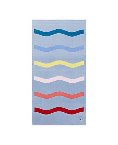 Lacoste Kane Strandtuch, 100 % Baumwolle, 91,4 cm B x 183,9 cm L, blau/gelb/rosa gestreift