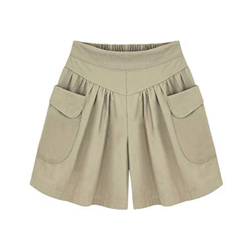 TENDYCOCO Pantalones Cortos Casuales para Mujer Pantalones Cortos Transpirables de Talla Grande Pantalones Cortos de Algodón Pantalones Cortos de Verano para Lady- Dark Khaki XXXXL