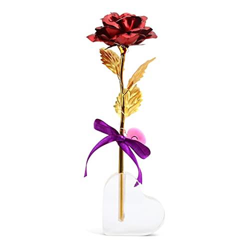 Hoja de Oro Rosa Nekano Flores Artificiales de Rose eternas con LED y Soportes para día de San Valentín, día de la Madre, Aniversario de Bodas y cumpleaños