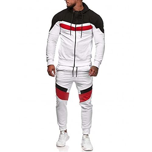 Trajes casuales para correr para hombre con capucha para gimnasio y deportes deportivos con cremallera completa, blanco, L