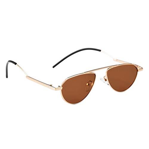 Amuzocity Gafas de Sol Retro Vintage con Montura Pequeña Gafas de Lente Espejada Ovalada - Dorado + marrón, Talla única