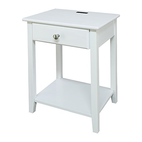 Casual Home Owl White Night Stand with USB Port,