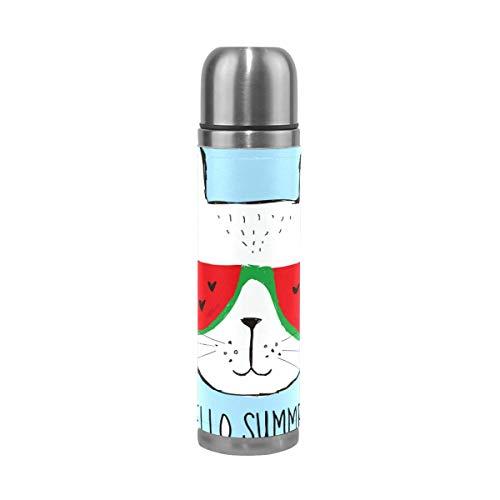 Thermos ThermoCafé Botella térmica aislada, Hola gato sandía,Frasco de Vacío de Acero Inoxidable 500 ml