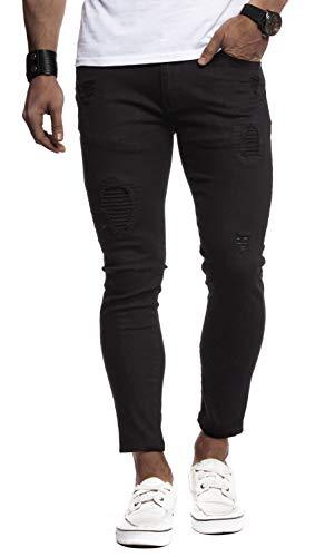 Leif Nelson Herren Jeans-Hose Slim Fit Moderne Denim Freizeithose für Männer Moderne Stretch weiße Jeanshose schwarz LN9100BL; W34L30, Schwarz