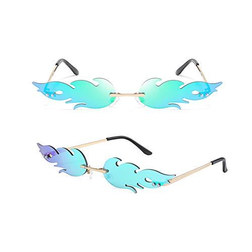 GYMO 2 Pares de Gafas de Sol sin Montura de Llama, Marco de Metal Dorado con Lunares Retro Adecuado para la Fiesta de Halloween,Azul
