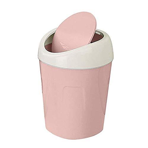 JUNGEN Papeleras de Escritorio con Diseño de Tapa Flexible Pequeño Bote de Basura de plástico Mini Cubo de Basura para Mesa de Oficina Baño Dormitorio Sala de Estar Estilo nórdico (Rosa)