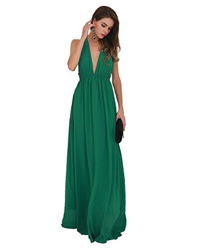 Miss ord Sexy Deep V Backless Sleeveless Cross Back Maxi Dress