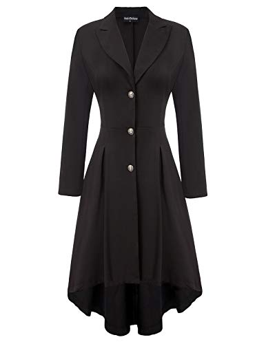 Women Victorian Trench Coat Gothic Long Asymmetrical Trench Coat Black L