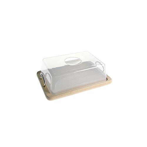 Caper Contenitore Formaggio in Legno con Cupola cm31x21 2 Manici Cucina barattoli