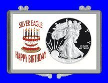 Marcus 3' x 2' Snap Lock Holder Silver Eagle Dollar - Happy Birthday - Birthday Cake. (Without Coin)