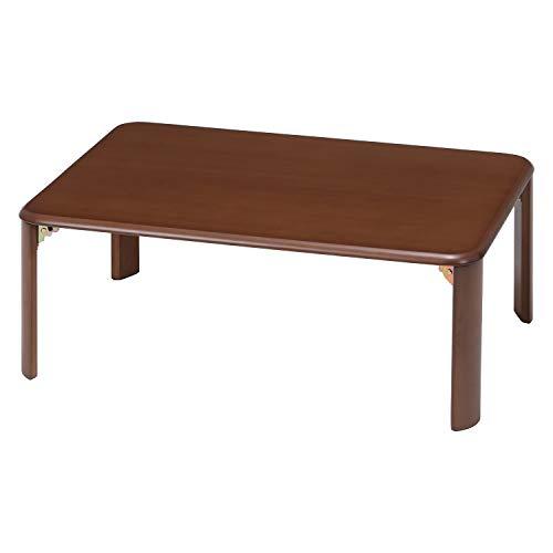不二貿易 折りたたみ ローテーブル ダークブラウン 幅90cm 40135
