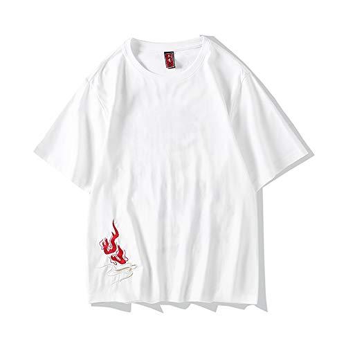 Whittie Hommes D'éTé Style Chinois Phoenix Brodé Coton T-Shirt Personnalité Grande Taille Chemise LâChe Hauts à Manches Courtes,White,XL