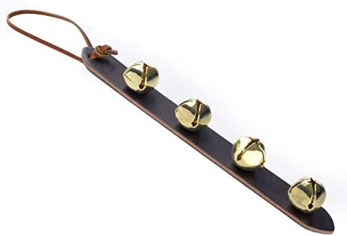 Amish Crafted Leather Strap Arctic Sleigh Bell Door Hanger Hanging Jingle Bells Brown Leather product image