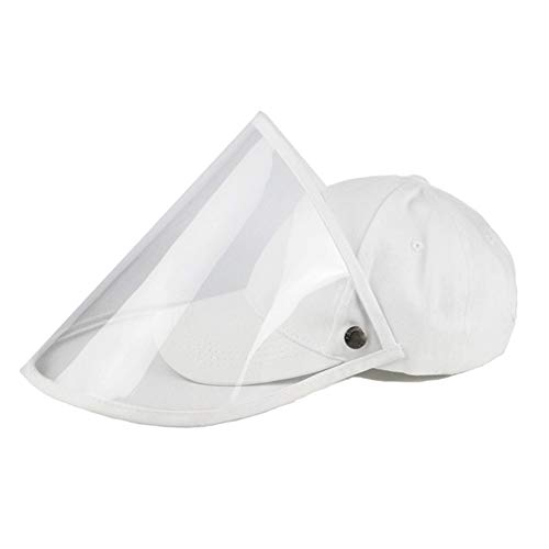 Baseball Cap for Womens Men,Sun Hat with Removable Transparent Cover,Foldable Plain Hat,Summer Bucket Hats,Outdoor Gym Sport Hat01 White
