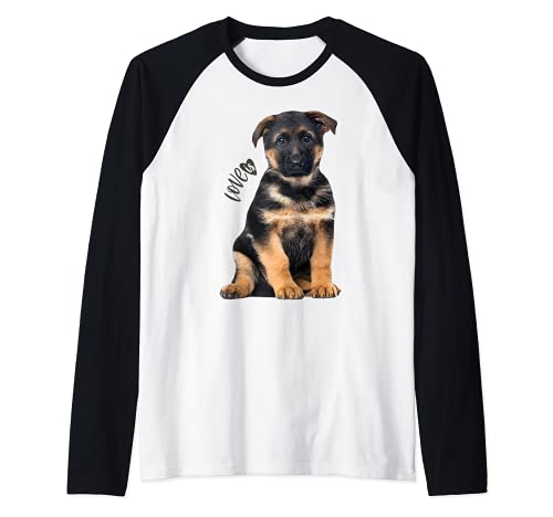 Camiseta de pastor alemán Shepard Dog Mom Dad Love Pet Puppy Tee Camiseta Manga Raglan