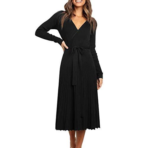 ZODOF vestidos sexy mujer Escotado Cuello en V Casual Mangas largas Vestir Color sólido Oscilación Vestido de fiesta,Negro