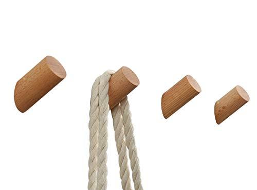 Ranvi - Ganchos para Ropa de Madera Natural montados en la Pared - Colgadores de un Solo Organizador, Perchero Artesanal Hecho a Mano (Madera de Haya, 8 cm, Paquete de 2)