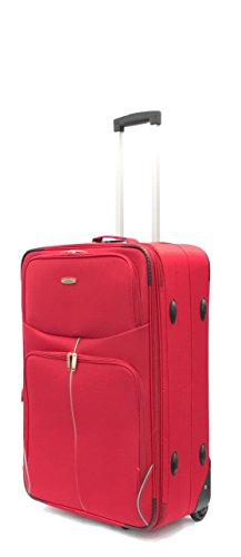 26' Medium Lightweight Expandable Durable Hold Luggage Suitcase Travel Trolley Case Travel Bag 2 Wheels (26', Red)