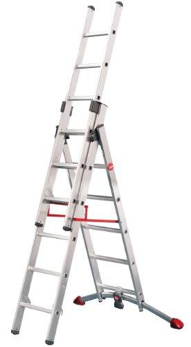Hailo ProfiLOT.3 - Escalera industrial 3 tramos de aluminio con estabilizador curvo...