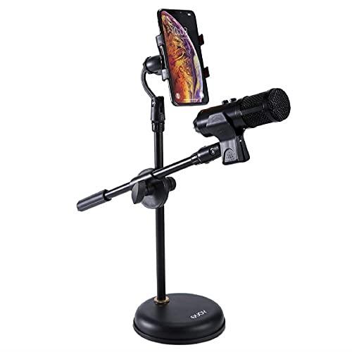 Soporte para micrófono de escritorio con soporte para telefono movil, EXJOY Pie de micrófono ajustable con micrófono Clip de soporte, con base redonda reforzada