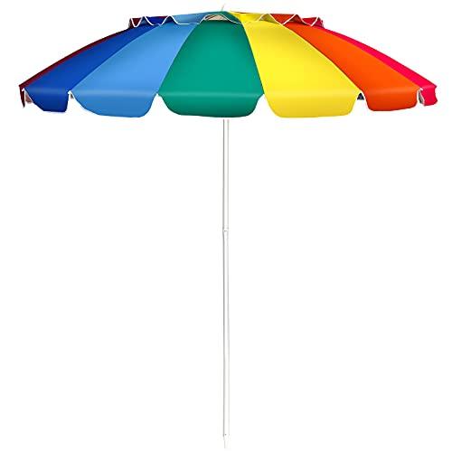 COSTWAY Ombrellone da Spiaggia 2,43 m, Ombrellone Portabile da Esterno con Borsa di Trasporto, con Protezione Solare, Ideale per Spiaggia, Balcone, Giardino (Colorato)