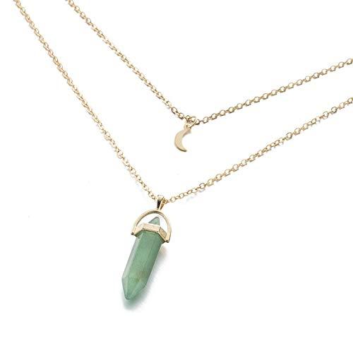K-ONE Collar de Gargantilla de Luna de Cuarzo con Columna Hexagonal Bohemia, Collar con Colgante de Cristal de Bala de Piedra Natural a la Moda para joyería de Mujer