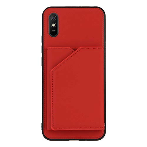 Schutzhülle für Xiaomi Redmi 9A, mit Kreditkartenfach, Rot
