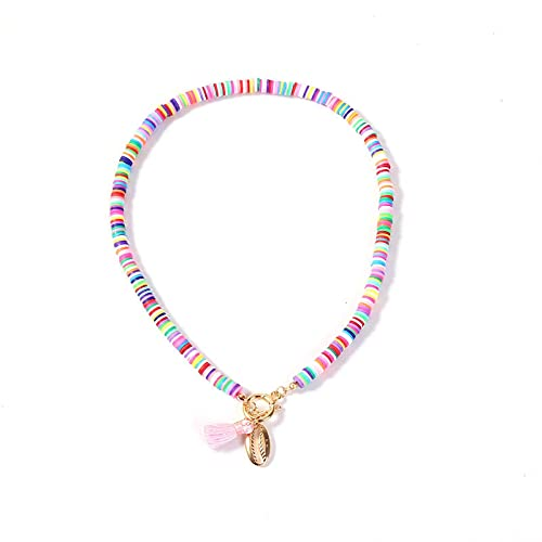 Collar Colgante Cadena Nuevo Collar De Borla De Concha De Cerámica Suave Bohemia para Mujer, Gargantilla con Colgante Multicolor De Arcoíris Colorido A La Moda, Regalo De Fiesta