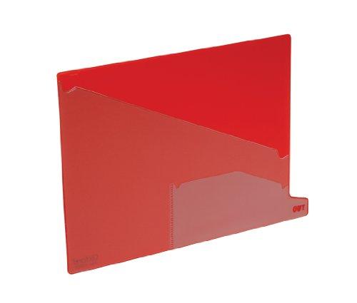 Pendaflex 13561 End Tab Vinyl Outguides, Bottom Tab Printed Out, 2 Pockets, Letter, Red, 25/Bx
