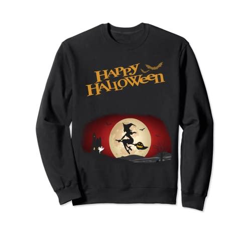 Feliz Halloween espeluznante bruja, calabaza, fantasma, murcilago Sudadera
