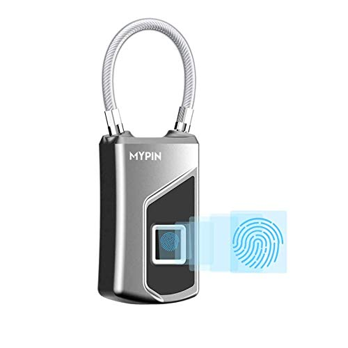 Fingerprint Lock,Smart Waterproof Fingerprint Padlock Ideal for Gym, Door, Luggage, Suitcase, Backpack, Bike, Office