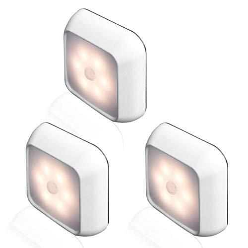 XHSHLID Creatief inductielicht 1 W inductielicht voor het huis met 6 LED-lampjes draadloze bewegingsmelder voor slaapkamer kinderkamer