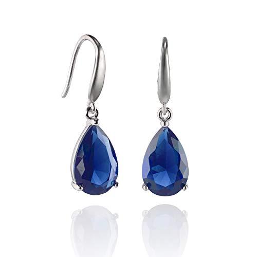 Namana Pendientes Pera Color Plata para Mujer. Disponibles con Piedra Blanca AAA de 12mm o Piedra Azul con Corte de Pera. Pendientes con Caja de Regalo