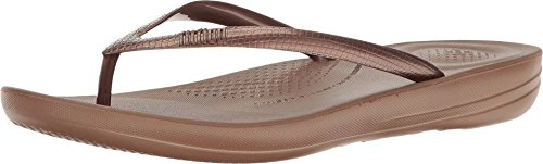 FitFlop Women's IQUSHION FLIP Flop-Solid, Bronze, 8 M US