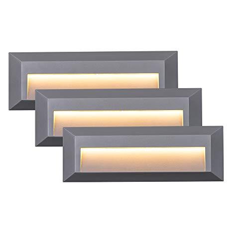ZEYUN Moderne Intérieur/Extérieur Applique Murale, 4W LED Surface Applique Murale Plastique IP65 Imperméable, Blanc Chaud pour Salon, chambre à coucher, couloir, salle de bains, lot de 3