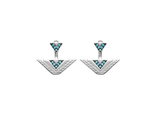 Les Plaisirs de Stella Pendientes de plata 925/000 rodiada y piedras turquesas, diseño de triángulo, estilo azteca/inca