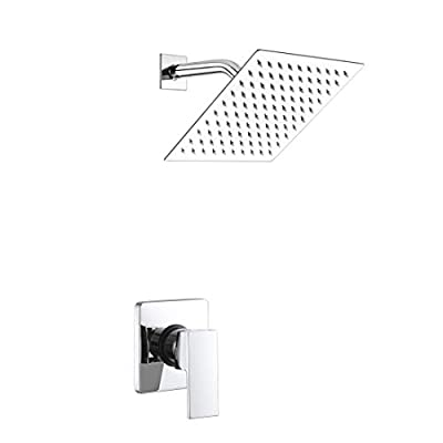 POP Single Function Shower Trim Kit with Rough-in Valve, Bathroom Rain Shower Set Bath Rainfall Shower Faucet System with Square Stainless Steel Metal Showerhead, Polished Chrome