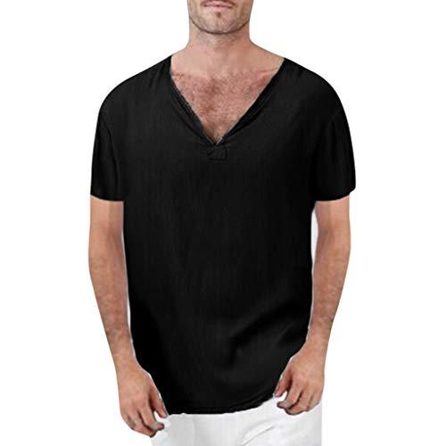 Xmiral Tee, T-Shirt Uomo Stretch SlimTee, T-Shirt Uomo T-Shirt Divertente Uomo Maglietta Maglia Maglietta Uomo T-Shirt Basic Aderente XXXL Nero