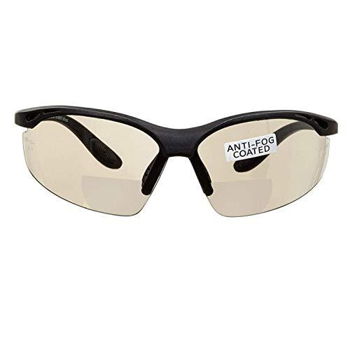 voltX 'Constructor' BIFOKALE Schutzbrille mit Lesehilfe (Verspiegelte +1.5 Dioptrie) CE EN166F zertifiziert/Sportbrille für Radler enthält Sicherheitsband + Anti-Fog UV400 Linse Bifocal Safety Glasses